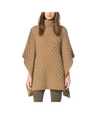 Michael Kors | Brown Aran-knit Alpaca-blend Poncho | Lyst