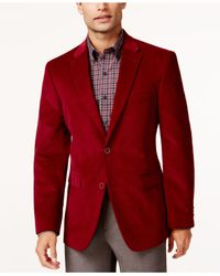 Tommy Hilfiger Red Solid Trim-fit Corduroy Sport Coat With Elbow Patches for men