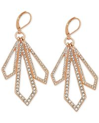 T Tahari - Metallic Rose Gold-tone Crystal Geometric Drop Earrings - Lyst