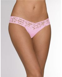 Hanky Panky | Pink Lace Trim Thong | Lyst