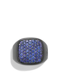 David Yurman - Black Pave Signet Ring With Sapphires for Men - Lyst