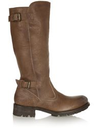 NDC - Brown Courchevel Shearling-lined Textured-leather Boots - Lyst