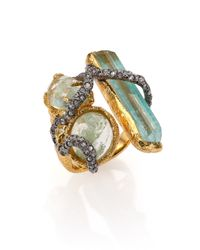 Alexis Bittar Green Elements Moonlight Crystal Vine Three-Stone Ring