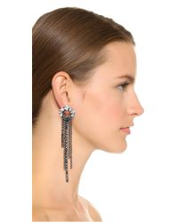 Erickson Beamon - Metallic Crystal Fringe Earrings - Clear - Lyst