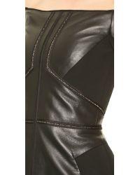J. Mendel Black Leather Off Shoulder Dress - Noir