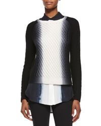 Vince - Black Dip-dye Cable-knit Crewneck Sweater - Lyst