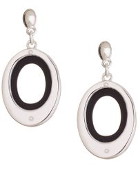 Nine West | Metallic Silver And Black Drop Earrings | Lyst