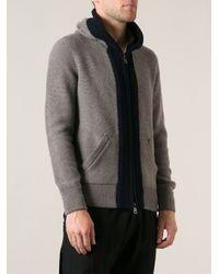 Moncler - Gray Hooded Cardigan for Men - Lyst