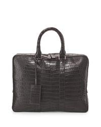 Santiago Gonzalez - Gray Crocodile Compartment Skinny Briefcase for Men - Lyst