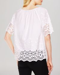 Vince Camuto White Eyelet Trim Peasant Blouse