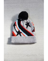 Urban Outfitters | Gray Kitschy Intarsia Pompom Beanie | Lyst