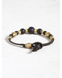 John Varvatos | Black Leather Bracelet With Brass And Onyx Beads for Men | Lyst