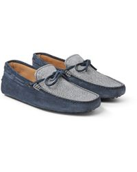 Tod's | Blue Gommino Crackle-Effect Suede Driving Shoes for Men | Lyst