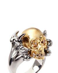 Alexander McQueen Metallic Claw And Skull Ring