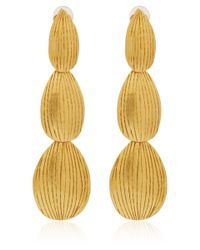 Herve Van Der Straeten | Metallic Gold-Plated Etched Drop Earrings | Lyst