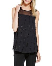Vince Camuto | Black Sheer Yoke Top With Feather Tassels | Lyst