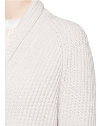 Helmut Lang Natural Shawl Collar Wool-cashmere Cardigan