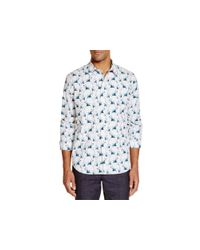 PS by Paul Smith - White Palm Tree Print Slim Fit Button Down Shirt for Men - Lyst