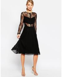 ASOS | Black Lace And Pleat Detail Midi Dress | Lyst