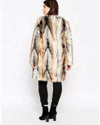 ASOS - Multicolor Vintage Faux Fur Longline Coat - Lyst