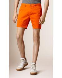 Burberry - Orange Cotton Twill Chino Shorts for Men - Lyst