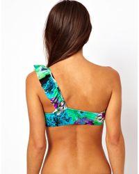 ASOS Multicolor Floral One Shoulder Frill Bikini Top