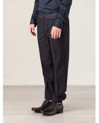 Juun.J Blue Contrast Waistband Track Pants for men