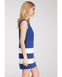 Forever 21 - Blue Contemporary Colorblock-striped Shift Dress - Lyst