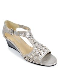 Adrienne Vittadini | Caldre Metallic Suede Wedge Sandals | Lyst