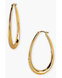 Argento Vivo Metallic Teardrop Hoop Earrings