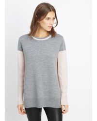 VINCE | Gray Double Faced Colorblock Crew Neck Sweater | Lyst
