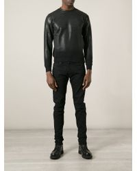 Diesel Black Gold Black Coated Cotton Sweatshirt for men