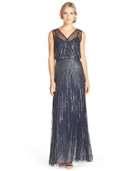 Adrianna Papell | Blue Beaded Surplice Gown | Lyst