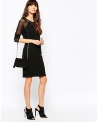 Just Female | Black Own Dress With Sheer Insert | Lyst