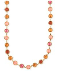 Anne Klein | Pink Gold-tone Multi-stone Necklace | Lyst