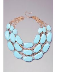 Bebe | Blue Stone Statement Necklace | Lyst