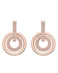 Swarovski | Metallic Circle Rose Gold-Plated Crystallized Earrings | Lyst