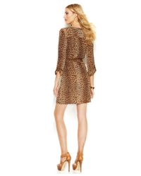 Michael Kors - Brown Michael Petite Lace-Up Belted Shirtdress - Lyst