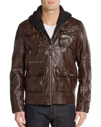 Members Only | Brown Hooded Faux Leather Jacket for Men | Lyst