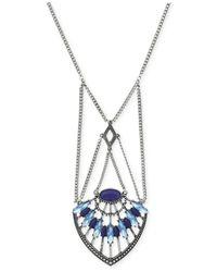 BCBGeneration | Blue Silver-tone Desert Flower Pendant Necklace | Lyst