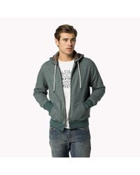 Tommy Hilfiger | Green Cotton Blend Zip Through Hoody for Men | Lyst