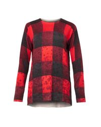 Preen Line Red Check And Flower-Print Sweater