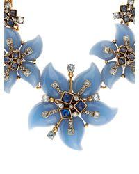 Oscar de la Renta | Blue Flower Bib Necklace | Lyst