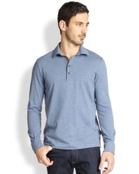 Canali Blue Knit Polo Shirt for men