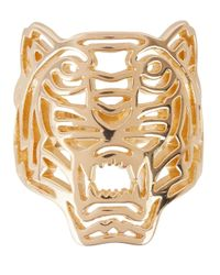KENZO Metallic Gold Tone Cut-Out Tiger Ring