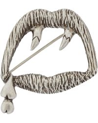 Saint Laurent | Metallic Sterling Silver Blood Luster Brooch | Lyst
