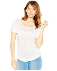 Maison Jules | Natural Embellished Linen Tee | Lyst