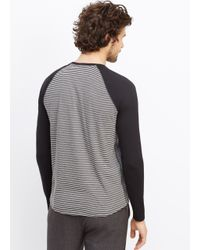 VINCE | Black Colorblocked Feeder Stripe Long Sleeve Baseball Tee for Men | Lyst