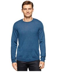 Calvin Klein | Blue Merino Wool-blend Crew-neck Sweater for Men | Lyst