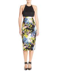 Elliatt - Multicolor 'botanic' Cutout Back Floral Sheath Dress - Lyst
